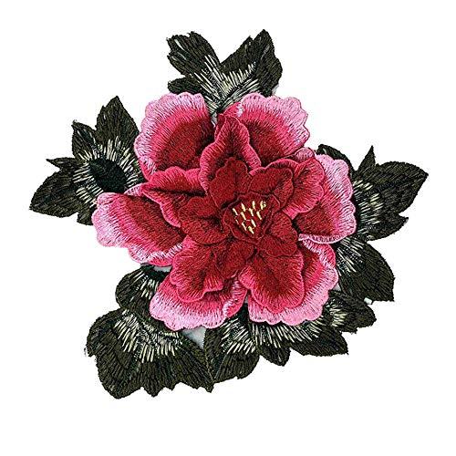 Haodou Flor de Peonía Bordada Coser En Patch Flor Hierro En Parche Pegatinas para Ropa Badge Costura Suministros Apliques (Rosa)