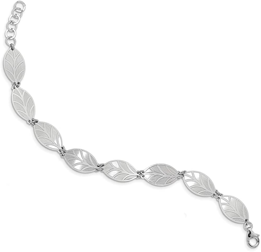Solid 925 Sterling Silver pl. Brushed Extension Detroit Low price Mall Brac Leaf in 1