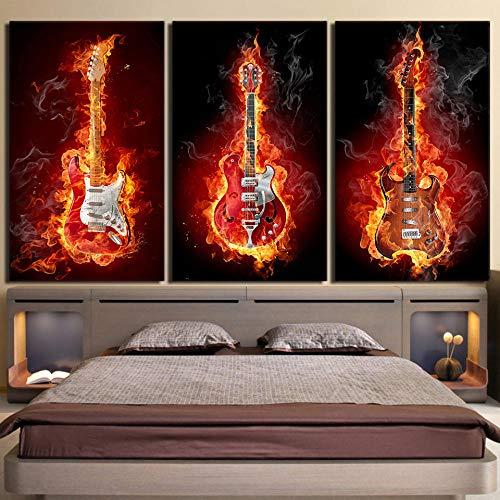 HD Imprime imágenes para Sala de Estar Decoración para el hogar Cartel Música de Fuego Guitarra eléctrica Llama encendida Pintura de Lienzo 50x70cmx3 sin Marco