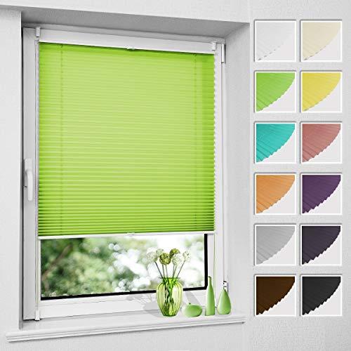 Plissee Klemmfix ohne Bohren, Grün 85 x 130 cm (BxH), Faltrollo Plisseerollo mit Klemmträger, Jalousie Rollos für Fenster und Tür, Sichtschutz und Sonnenschutz