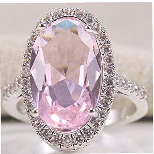 AYRSJCL Frauen Art und Weise 925 Silber Oval-Schnitt-Rosa Kunzit Ring Hochzeit Schmuck-Größe 6-10 (8#)