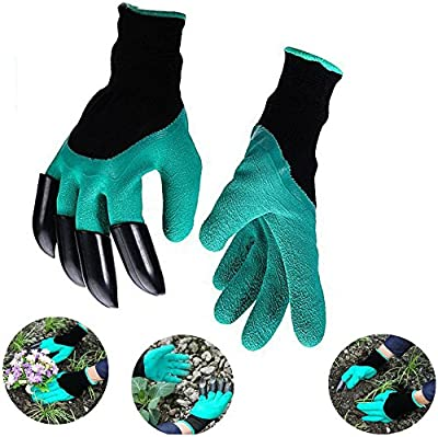 Work Gloves Garden with Fingertips Right Claws Quick & Easy to Dig and Plant Safe for Pruning, Digging & Planting Nursery Plants Medium, Best Gardening Tool for Gardeners Gift (1 pair)