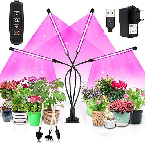 Niello 80W Pflanzlicht, 80 LEDs Grow Lampe Vollspektrum mit Auto ON & Off Timer 3/9/12H für Zimmerpflanzen, 4 verstellbare Köpfe mit Rot & Blau inkl. USB + AC Adapter. Für Sämlinge und Sukkulenten.