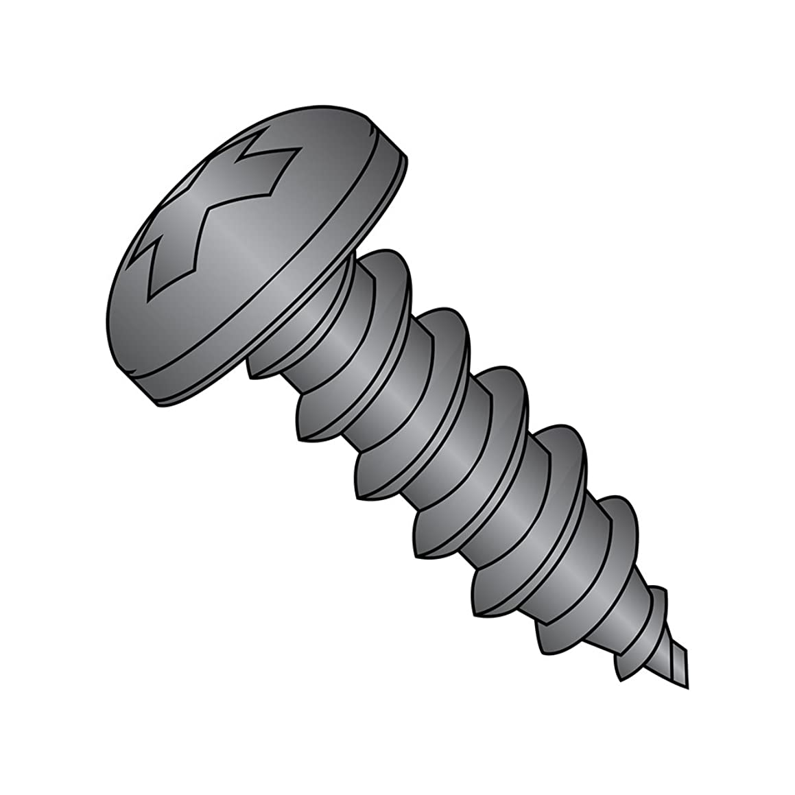 18-8 Stainless Steel Sheet Metal Screw, Black Oxide Finish, Pan Head, Phillips Drive, Type AB, #8-18 Thread Size, 1-1/4