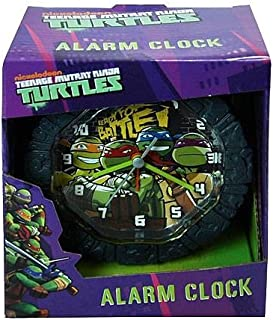 TMNT Teenage Mutant Ninja Turtles Battery Operated Snooze Alarm Clock with Custom Molded Case Room Decoration 5.75