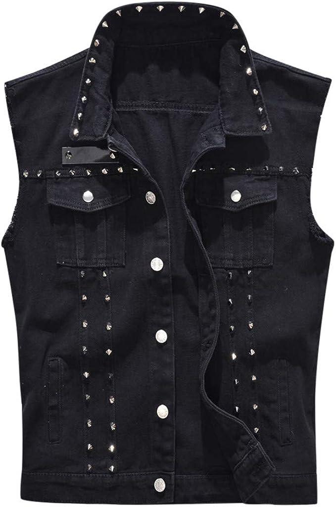 Men's Motorcycle Denim Sleeveless Jacket Slim Fit Punk Denim Vest Sleeveless Jeans Vest Jacket with Rivets Outwear Coat