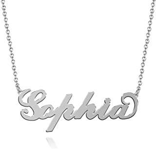 Sophia Name Necklaces Pendant Stainless Steel Silver Custom Necklace Personalized Nameplate Gifts for Women, Men, Mom, Girls, Boys, Kids, Him, Her