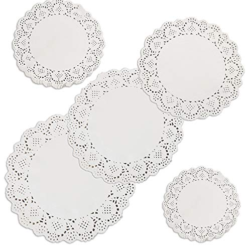 Rund Papierdeckchen,500 Stücke Tortenspitze Papier Runde Spitze Papiermatten Tischsets,Kuchen Verpackung Pads für Hochzeiten,Geburtstagsfeier,Geschirrdekoration 6.5, 5.5, 4.5 Zoll, 4 Zoll, 3.5 Zoll