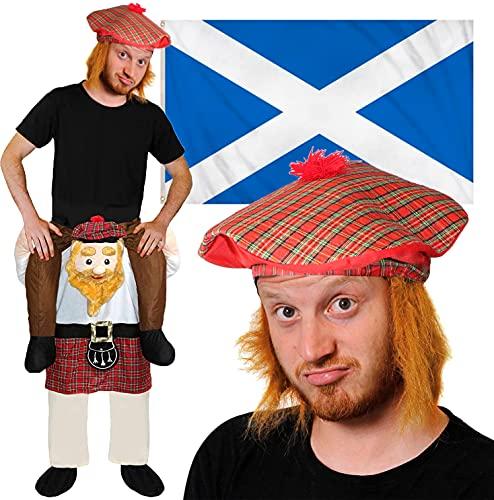 Conjunto de partidarios escoceses  Disfraz de Escocs Lift me Up con sombrero de Tam O'Shanter y bandera escocesa de 5ft x 3ft para ftbol  eventos deportivos, fiestas callejeras y celebraciones