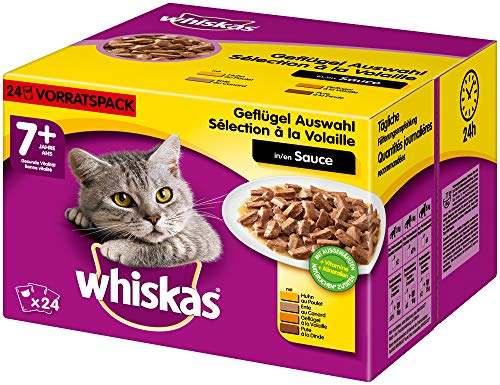 Whiskas 7 + Katzenfutter – Geflügel-Auswahl in Sauce – Hochwertiges Katzenfutter ab dem 7. Lebensjahr und älter – 2 x 24 Portionsbeutel à 100g