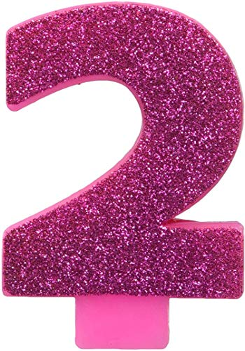 #2 Glitter Birthday Candle | Pink | Party Supply