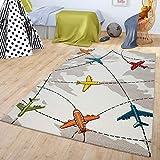 TT Home Alfombra De Juegos Habitación Infantil Pelo Corto Diseño Aviones Beige, Größe:120x170 cm