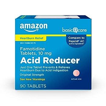 Amazon Basic Care Original Strength Famotidine Tablets 10 mg Acid Reducer for Heartburn Relief 90 Count