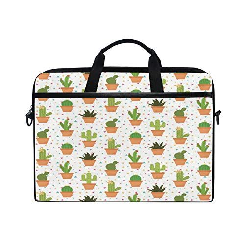 iRoad Canvas Laptop Bag Floral Aloe Vera Cactus Laptop Bag Case with Shoulder Strap Computer Bag for Women Men Business 14-15 Inch