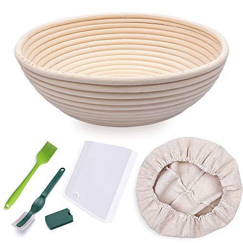 HomeMall Runder Gärkörbchen für Brot, Größe 25,4 cm, für 1000 g Teig, Premium-Rattan, Sauerteig, Gärkorb für professionelle Heimbäcker (mit Stoffeinlage, Teigschaber, Bürste, Brotlamme)