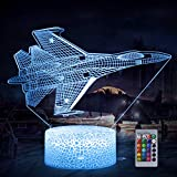 3D Airplane Night Light, Fighter Plane 3D LED Illusion Lamp 16 Colors Changing with Remote Control & Touch Control Battery Operated Dimmable Desk Lamps for Kids Boys Girls Birthday Festival Gifts