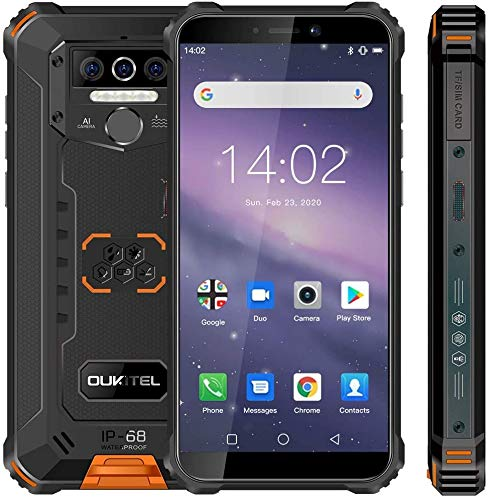 Rugged Cell Phone Unlocked OUKITEL WP5,8000mAh Battery, Android 10.0 Rugged Smartphone, 5.5 Inch 4GB RAM+32GB ROM, IP68 Waterproof Shockproof Phone with 4 LED Flashlights, Triple Camera, Dual SIM 4G