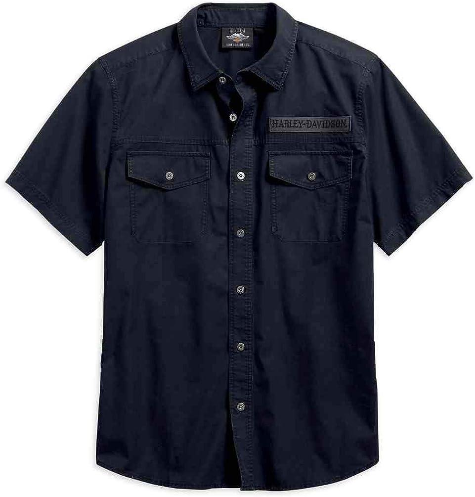 Sacramento Mall Harley-Davidson Men's Winged Purchase Skull Short Sleeve Woven Shirt Bla