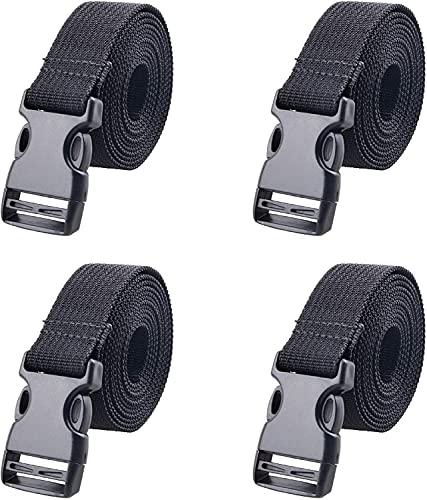 Azarxis スーツケースベルト 荷締めベルト 荷締バンド 荷物固定 調節可能 荷崩れ防止 トランクベルト 梱包バンド 荷物ストラップ 4本セット (黒 - 幅38mm, 3m)