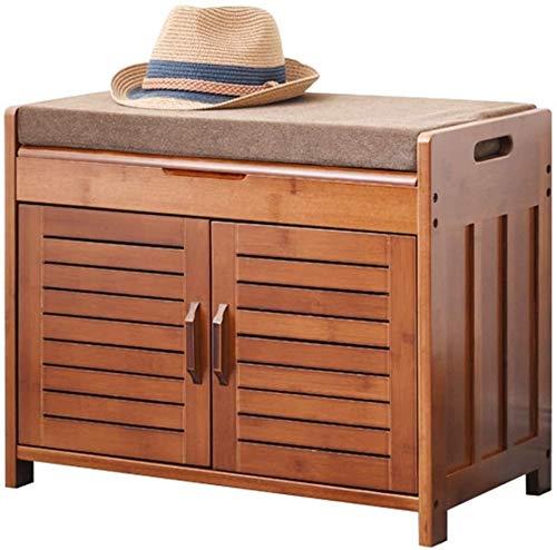 XINKONG Banco Zapato for Pasillo Dormitorio con Asiento Acolchado Zapato Gabinete Banco Zapato Organizador con 2 estantes (Size : 60x32.5x49cm)