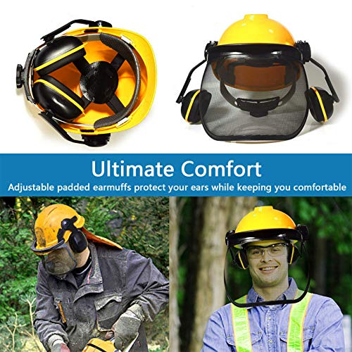 Yellow Forest Head Protection Helmet, Industrial Forestry Safety Helmet With Ear Muffs And Protective Visors, Comfortable Lining And Wire Mesh Mask Heavy Duty Hard Hat Chainsaw Helmet
