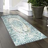 "LIVEBOX Vintage Area Rug Runner, 2' x 4'3"" Bohemian Distressed Turquoise and Beige Area Rugs Traditional Persian Oriental Design Floor Mat for Entryway Laundry Bedroom Carpet"