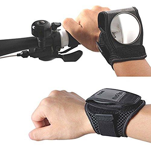YJL 1PCS Schwarz Rückspiegel Bike Armbänder Sucher Retroreflektor Handgelenkschoner Bike Fahrrad Rückspiegel Reflektor Zubehör