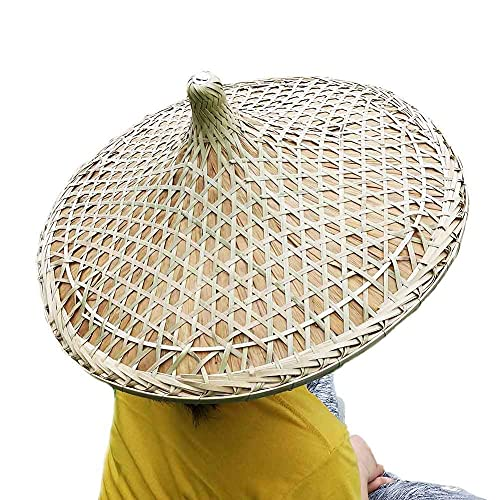 Z-one Rice Hat Chinese Cantonese Traditional Bamboo Hat Dia. 20.5' Brown