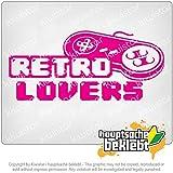 レトロ恋人のコントローラーzockenゲームゲーム Retro Lover Controler zocken Games Games 20cm x 9cm 15色 - ネオン+クロム! ステッカービニールオートバイ