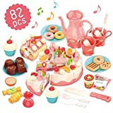 GILOBABY Pretend Birthday Cake Role Play Food Toys Set for Kid toddler, Educational Kitchen toy for Children...