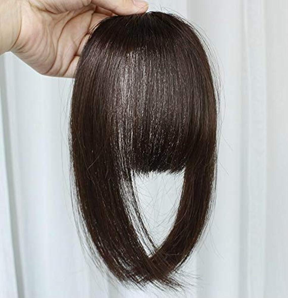 盲信である論争の的美しさ 高温合成繊維の前髪の毛延長の女性の偽のフリンジクリップ ヘア&シェービング (色 : Black)