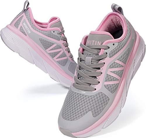 WHITIN Laufschuhe Herren Sportschuhe Straßenlaufschuhe sportlich Joggingschuhe Turnschuhe Walkingschuhe Fitness Schuhe Gym rutschfeste Outdoor Trainers Schuhe Leichte Pink 41 EU