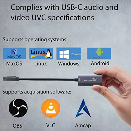 GLUBEE Video Capture Card, Videoaufnahmekarte wunderbar 4K HDMI auf 1080P USB C für Gaming Streaming TV-Recorder, für Windows Mac OS System mit USB C-Adapter zur Anpassung von PS4, Switch, Xbox