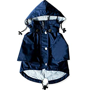Navy Blue Zip Up Dog Raincoat with Reflective Buttons, Pockets, Rain/Water Resistant, Adjustable Drawstring, & Removable Hood – Size XS to XXL Available – Stylish Premium Dog Raincoats by Ellie