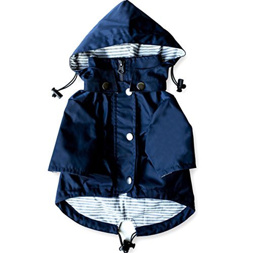 Navy Blue Zip Up Dog Raincoat with Reflective Buttons, Pockets, Rain/Water Resistant, Adjustable Drawstring, & Removable Hood - Size XS to XXL Available - Stylish Premium Dog Raincoats by Ellie (L)