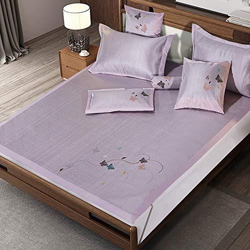 XF Sommerbettwäsche Sommer-Schlafmatte, Seidenmatte Sommer Klimaanlage Raumkissen Faltbare atmungsaktive Netto-Doppel-Schlafmatte Schlafkissen (Farbe : B, größe : 180x200CM)