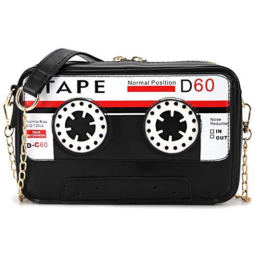 QiMing Retro-Handtasche in Bandform, PU-Audio-Kassette, Crossbody-Handtasche für Damen, Schwarz (schwarz), Small