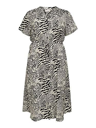 Only Carmakoma Damen CARTUKZU SS Calf Shirt Dress Kleid, Ecru/AOP:LEONESS, 52
