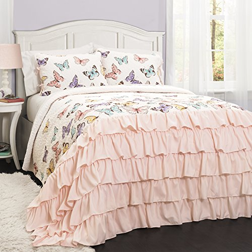 Lush Decor Flutter Butterfly 2-Piece Set Cute Quilted Bedspread (Twin)