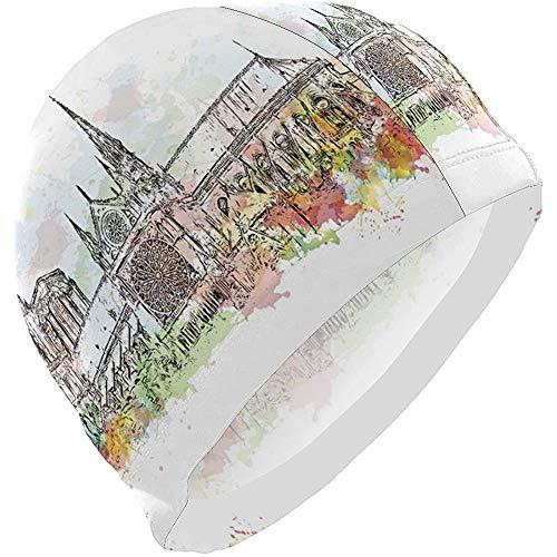dilidy Cuffia da Bagno Uomo Acquerello Notre-Dame De Paris Francia Cuffia da Bagno Cappello da Bagno Cappello da Bagno Cappello da Bagno Cappello da Nuoto per Capelli