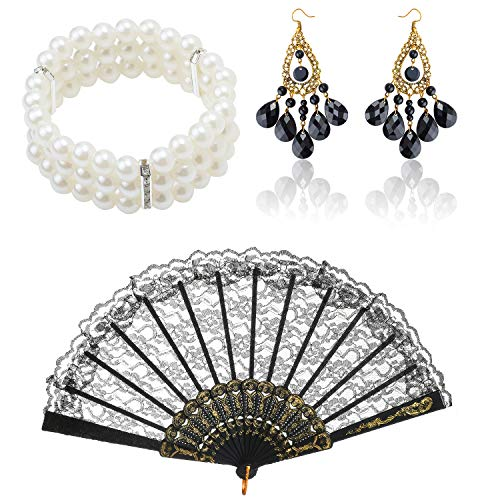 Beelittle 1920s Accessories Set Flapper Headband, Pearl Necklace,Gloves,Net Tights, Fake Cigarette Great Gatsby Accessories for Women (A3)