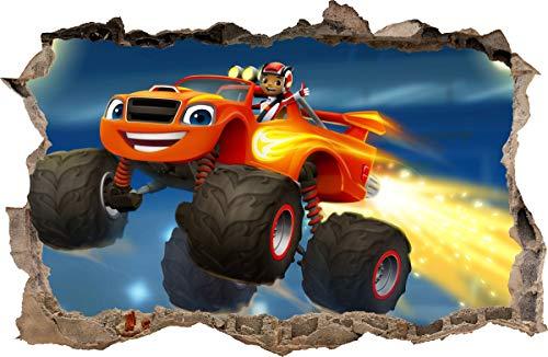 Wall Graphics Pegatinas de Pared Agujero en la Pared Blaze y los Monster Machines Adhesivo Decorativo de Pared 65 (XXL - 115 x 75 cm)