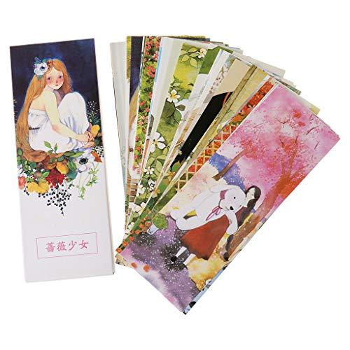 Wusuowei 30pcs Beautiful Girl Lesezeichen Papier, Recycelte, Umweltfreundliche Lesezeichen Für Schüler Zum Lesen