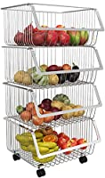 マラコス 車輪付きフルーツバスケット、2 / 3/4/5ティア多機能積み重ね可能なフルーツと野菜収納バスケットステンレス鋼棚のための台所浴室のリビングルームの寝室 (サイズ : 4 Tier)