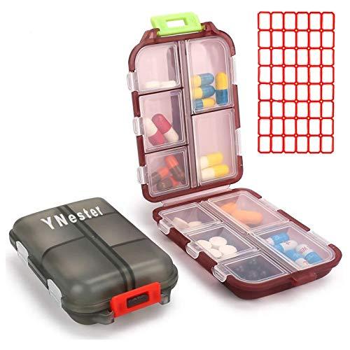 YNester Confezione da 2 portapillole portatili piccoli, 7 giorni settimanali da viaggio, organizer portatile tascabile, dispenser per vitamine, olio di pesce, per uso quotidiano, Grigio + Rosso scuro