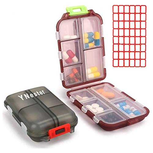 Paquete de 2 pastilleros portátiles pequeños 7 días semanales organizador de dispensador de pastillero para bolsillo Vitamina Aceite de Pescado Compartimentos de uso diario contenedor caja de medicina