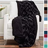 The Connecticut Home Company Luxury Faux Fur with Sherpa Reversible Throw Blanket, Super Soft, Large Wrinkle Resistant Blankets, Warm Hypoallergenic Washable Couch or Bed Throws, 65x50, Black