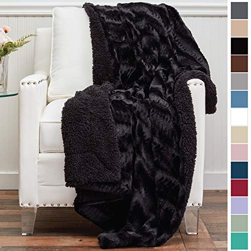 The CONNECTICUT Home Company Luxury Faux Fur with Sherpa Reversible Throw Blanket, Super Soft, Large Wrinkle Resistant Blankets, Warm Hypoallergenic Washable Couch or Bed Throws, 70x60, Black