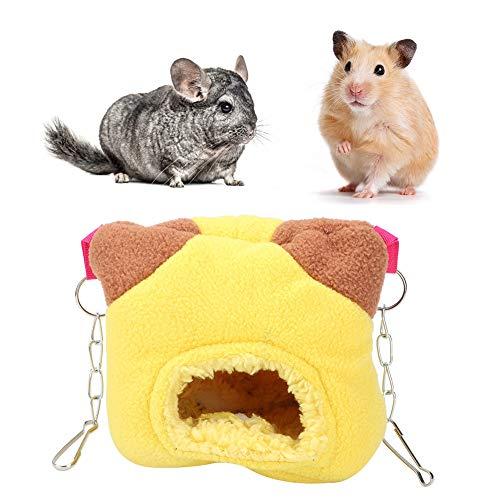 Pssopp Hámster Hamaca Colgante, Hamaca de Franela para Mascotas pequeñas Hamster Hanging Sleeping Nest Hamster Nest House Cama giratoria para Ardilla Guinea(Amarillo)