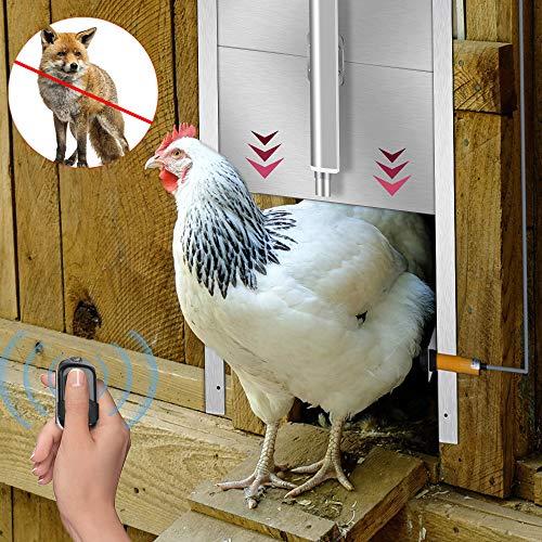 InLoveArts Abridor automático de puerta de pollo Accesorios para gallinero Puerta de gallinero con cierre automático para gallineros, jaulas, corredores, puerta con orificio pop resistente